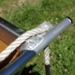 poulie aluminium avec corde pour barque de peche